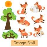 Orange Fox with sheep cartoon Royalty Free Stock Photos