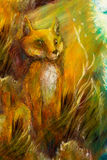 Orange fox sitting in grass in sun rays, colorful painting. Abstract background stock illustration