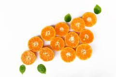 Orange fraîche avec la lame verte Photographie stock libre de droits