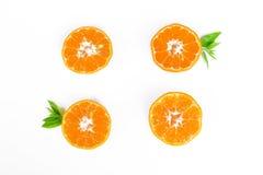Orange fraîche avec la lame verte Image libre de droits