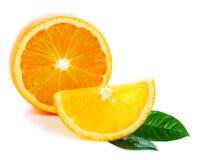 Orange fraîche avec la lame verte Images libres de droits