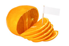 Orange fraîche avec un signe Photos stock