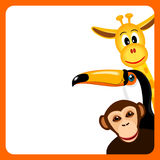 Orange frame with toucan, giraffe and monkey Royalty Free Stock Photos
