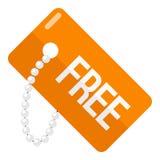 Orange Free Tag Flat Icon Isolated on White Royalty Free Stock Photo