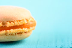 Orange French Macaroon On Blue Stock Images