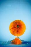 Orange 2. Fresh orange fruit splashing in water Royalty Free Stock Photography