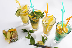 Orange fresh juice with lemon lime and mint stock photography