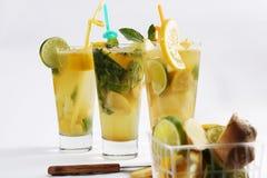 Orange fresh juice with lemon lime and mint stock image