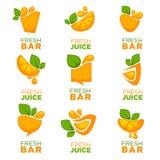 Orange fresh juice, vector collection of logo, symbols and emble Stock Photos