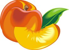 Orange and fresh peach Royalty Free Stock Photography