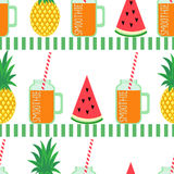 Orange fresh smoothie with watermelon and pineapple. stock illustration