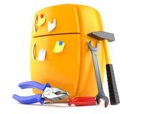 Orange fridge with work tools. On white background Royalty Free Stock Photography