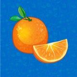 Orange Frucht auf Farbhintergrund Auch im corel abgehobenen Betrag Stockbilder