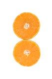 Orange Frucht geschnitten lokalisiert auf Weiß Stockbild