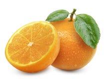 Orange Frucht getrennt auf weißem Hintergrund Stockfoto