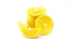 Orange Frucht lokalisiert auf Weiß Stockfotografie