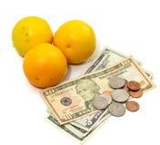 Orange Frucht mit Geld Lizenzfreie Stockfotografie