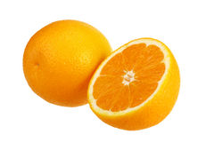 Orange Frucht mit Hälfte Stockfotos