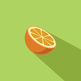 Orange Frucht-Vektor-flache Design-Illustration Stockfotografie