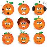 Orange Fruchtlächelnvektor stellte 2 ein Lizenzfreie Stockfotografie