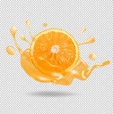 Orange Fruchtsaftspritzen realistische Illustration des Vektors 3d Lizenzfreies Stockfoto