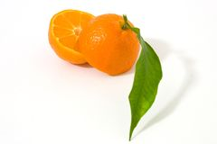 Orange fruit. Orange mandarin fruit with leaf. Isolated on white background Royalty Free Stock Photo