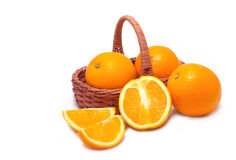 Orange fruit in basket Royalty Free Stock Photos