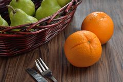 Orange with Fruit basket Stock Image