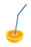Orange fruit with blue straw Royalty Free Stock Image