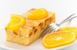 Orange fruit cake isolated  Stock Photos