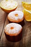 Orange and fruit cakes Royalty Free Stock Photos
