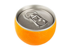 Orange fruit with can Stock Images