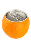 Orange fruit with can Royalty Free Stock Photography
