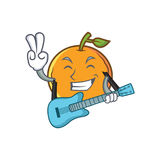 Orange fruit cartoon character with guitar Stock Photography