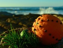 Christmas clove spice spiked orange on a rocky sea coast green glitter decoration Christmas in July stock image