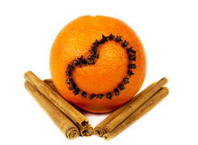 Orange fruit with cinnamon Royalty Free Stock Photos