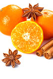 Orange fruit, cinnamon sticks and anise stars Royalty Free Stock Photography