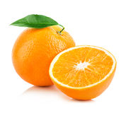 Orange fruit close-up  on a white background Stock Photos