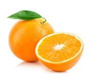 Orange fruit close-up  on a white background Stock Photos