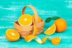 Orange fruit on color table background. Fresh orange fruit on color table background Stock Photo