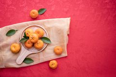 Orange fruit with Copy space on red texture background, concept of Chinese new year background royalty free stock images