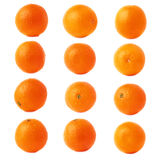 Orange fruit covered with the multiple water drops, isolated over the white background, set of different foreshortenings. Orange ripe fruit covered with the stock photo