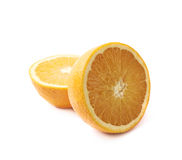 Orange fruit cut in halves isolated Royalty Free Stock Photos