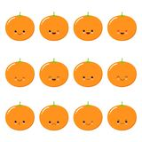 Orange. Fruit Food concept. Emoji Emoticon collection. Kawaii style vector illustration