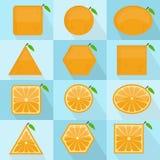 Orange fruit geometric shape Stock Image