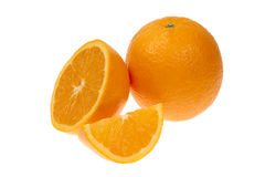 Orange fruit half and one segment or cantles isolated on white background cutout Stock Photo