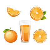 Orange fruit half and sliced and orange juice. Royalty Free Stock Photos