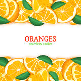 Orange fruit horizontal seamless border. Vector illustration card top and bottom Fresh tropical mandarin whole and slice. For design tea, ice cream, natural Royalty Free Stock Images