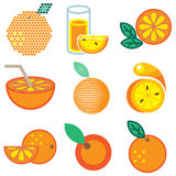Orange fruit icons Royalty Free Stock Photos