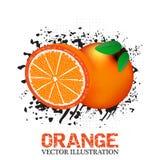 Orange fruit  illustration with grunge and halftone effect Stock Photo